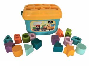 Set jucarii cuburi de construit, 16 piese, diferite forme si culori, 18 luni+